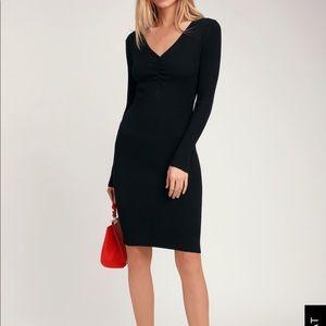 NWT Lulus Stylish Silhouette Black Ribbed Dress